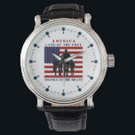 "USA Flag Soldiers Land of Free Watch<br><div class=""desc"">Patriotic USA &quot;Land of the Free, Thanks to the Brave&quot; marching soldiers silhouette wrist watch. These watches feature an American flag in the center with marching soldiers silhouette in front. The watch also reads &quot;Land of the Free, thanks to the Brave&quot;! This watch will surely add some patriotic pride and...</div>"