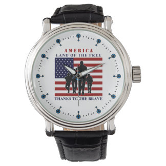 USA Flag Soldiers Land of Free Watch