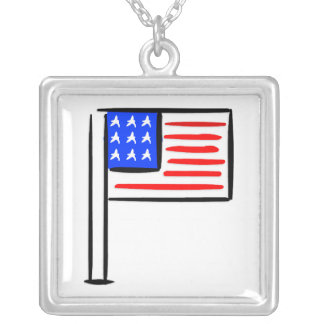 USA Flag Square Pendant Necklace