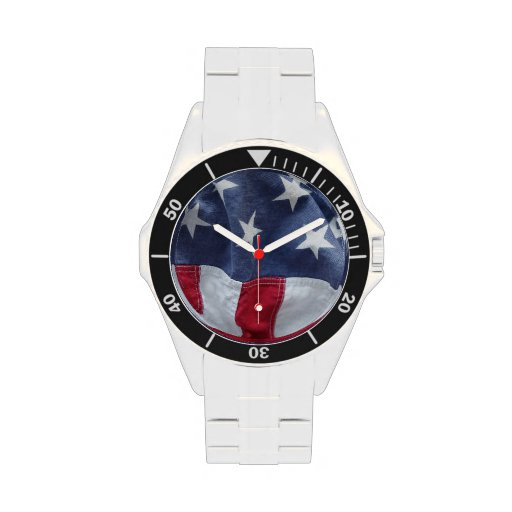 USA flag stainless steel watch