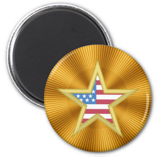 USA Flag Star 2 Inch Round Magnet