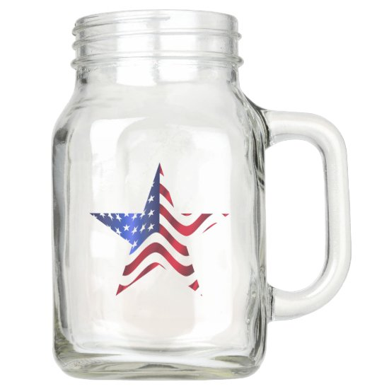 USA Flag, Star, 4th of July, Country Mason Jar