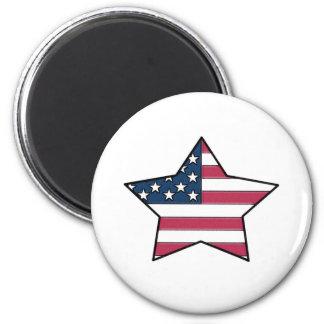 USA Flag Star Design 2 Inch Round Magnet