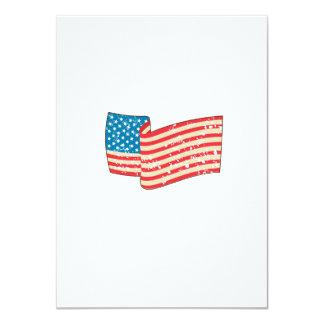 USA Flag Stars and Stripes Grunge Wavy Retro Card