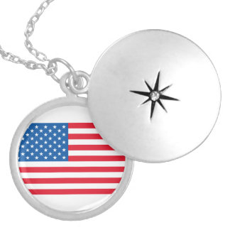 USA Flag stars and stripes Silver Plated Necklace