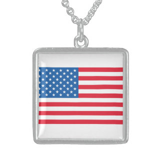 USA Flag stars and stripes Sterling Silver Necklace