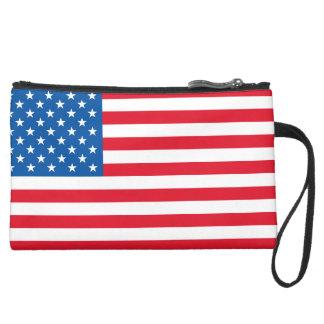 USA Flag stars and stripes Suede Wristlet