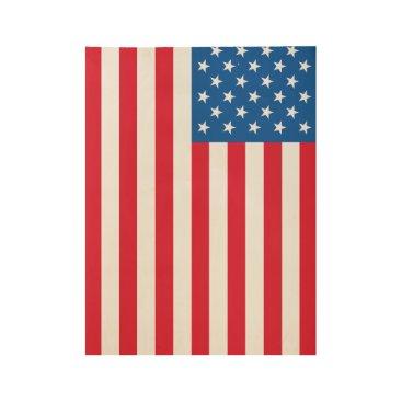 USA Themed USA Flag stars and stripes Wood Poster