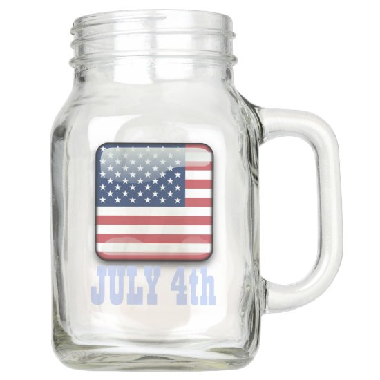 USA Flag, Stars & Stripes, 4th of July Country Mason Jar