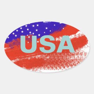 USA flag Oval Sticker