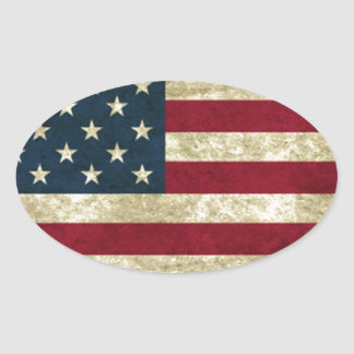 USA Flag Oval Stickers