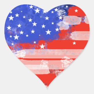 USA flag Heart Sticker