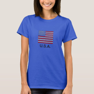 USA Flag T-Shirt, Red White & Blue Hearts T-Shirt