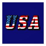 USA Flag Text 5.25x5.25 Square Paper Invitation Card