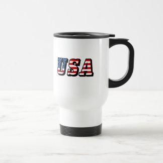 USA Flag Text Travel Mug