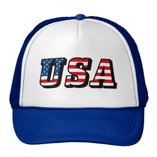 USA Flag Text Trucker Hat