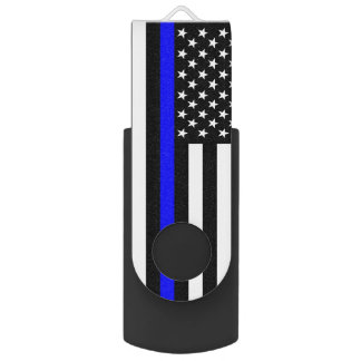 USA Flag The Thin Blue Line Theme Flash Drive