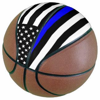 USA Flag Thin Blue Line Symbolic Memorial on a Basketball