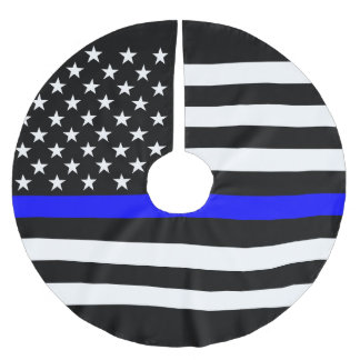 USA Flag Thin Blue Line Symbolic Memorial on a Brushed Polyester Tree Skirt
