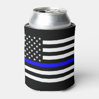 USA Flag Thin Blue Line Symbolic Memorial on a Can Cooler