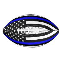 USA Flag Thin Blue Line Symbolic Memorial on a Football