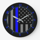USA Flag Thin Blue Line Symbolic Memorial on a Large Clock