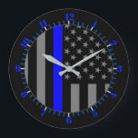 """USA Flag Thin Blue Line Symbolic Memorial on a Large Clock<br><div class=""""desc"""">A Thin Blue Line symbolic US flag custom design graphic on a clock. A great gift idea for gatherings,  memorial celebrations and remembrance occasions. Use the &quot;Contact this Designer&quot; link to contact us with your special design requests or for some assistance with any of your customization project needs.</div>"""