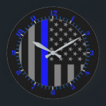 "USA Flag Thin Blue Line Symbolic Memorial on a Large Clock<br><div class=""desc"">A Thin Blue Line symbolic US flag custom design graphic on a clock. A great gift idea for gatherings,  memorial celebrations and remembrance occasions. Use the &quot;Contact this Designer&quot; link to contact us with your special design requests or for some assistance with any of your customization project needs.</div>"