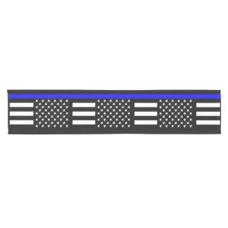 USA Flag Thin Blue Line Symbolic Memorial on a Short Table Runner