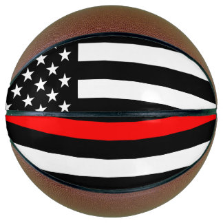 USA Flag Thin Red Line Symbolic Memorial on a Basketball