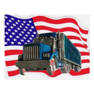 USA FLAG TRUCKER POSTCARD