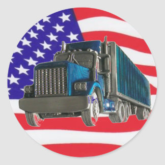 USA FLAG TRUCKER CLASSIC ROUND STICKER