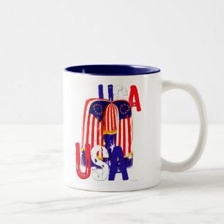USA. Flag Two-Tone Coffee Mug