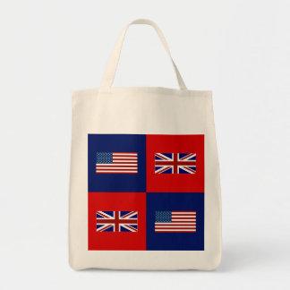USA Flag & UK Flag Pattern Tote Bags