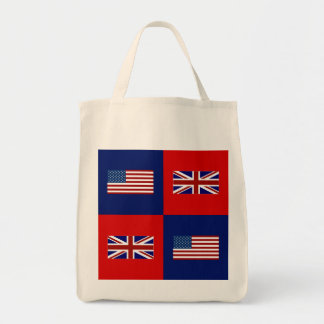 USA Flag & UK Flag Pattern Grocery Tote Bag