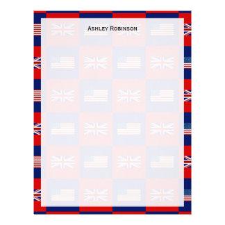 USA Flag & UK Flag Pattern Letterhead