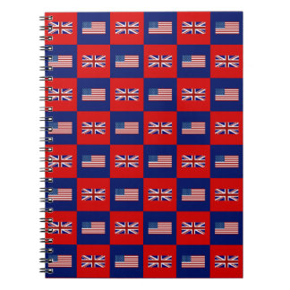 USA Flag & UK Flag Pattern Spiral Notebook