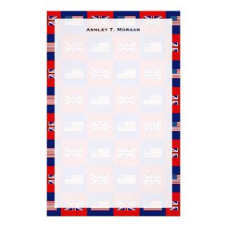 USA Flag & UK Flag Pattern Stationery