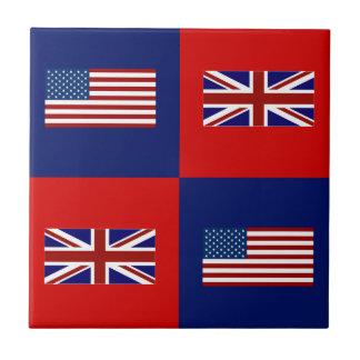 USA Flag & UK Flag Pattern Small Square Tile