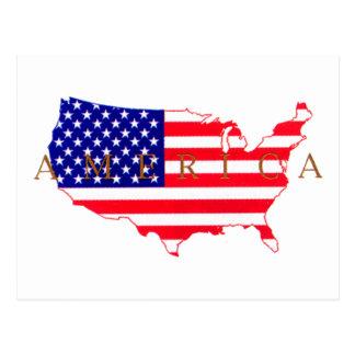 USA Flag - USA Map - America Postcard