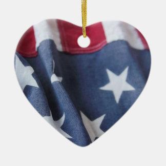 USA flag vertical heart ornament