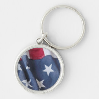 USA flag vertical premium round keychain