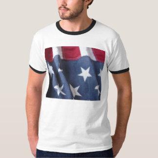 USA flag vertical ringer t-shirt