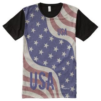 USA flag vintage monogram All-Over Print T-shirt