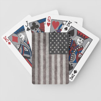 USA Flag, Vintage Retro American Flag On Canvas Bicycle Playing Cards