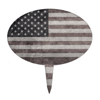 USA Flag, Vintage Retro American Flag On Canvas Cake Topper