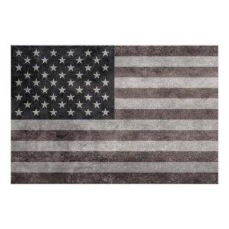USA Flag, Vintage Retro American Flag On Canvas Poster