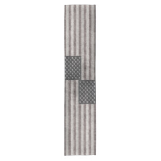 USA flag, vintage retro style with canvas texture Short Table Runner