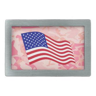 USA Flag w/ Lady Pink Camo Belt Buckles