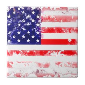USA FLAG WASH SMALL SQUARE TILE
